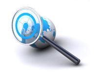 World location. Earth and magnifying glass with target image is isolated over a white background Royalty Free Stock Images