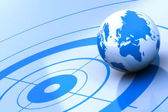 World location. Earth and target, blue background Royalty Free Stock Photos