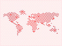 World of love. World map made of love hearts Stock Photography