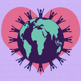 World in Love. Planet Earth with people silhouette around the outer edge on top of a heart and layered with a map of the world Stock Photography