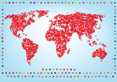 World of love map with flags Stock Photography