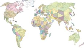 World lowpoly, world map, colorfull world, triangles vector illustration
