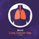 World lung cancer day banner with orange and purple lung human in circle sign vector design royalty free illustration