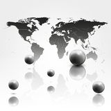 World mab background with 3D spheres vector Royalty Free Stock Photos