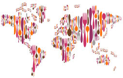 World made with cutlery colors silhouettes. World made with forks, knives and spoons silhouettes on different sizes and colors Royalty Free Stock Photography