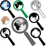 World Magnifying Glass Icon to Search Find Earth. A set of magnifying glass icons to search the earth to find a web page Royalty Free Stock Photos