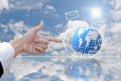 World mail and hand. Royalty Free Stock Photos