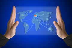 World Mail Technology in hand Stock Photography