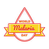 World Malaria day greeting emblem. World Malaria day emblem isolated vector illustration on white background. 25 april world healthcare holiday event label Royalty Free Stock Image