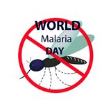 World Malaria Day. Mosquito bans the sign. Infographics. Vector illustration on isolated background. World Malaria Day. Mosquito bans the sign. Infographics Stock Photos