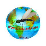 World Malaria Day. Mosquito on the planet Earth. 25th of April. Vector illustration Royalty Free Stock Photography
