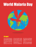 World Malaria Day. Poster for international holiday of April 25. Planet earth and silhouette of malaria mosquito Stock Image