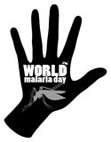World malaria day poster with mosquito and hand Royalty Free Stock Image