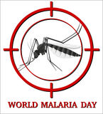 World malaria day sign with mosquito in focus Royalty Free Stock Photography