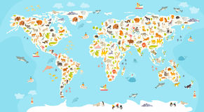 World mammal map. Beautiful cheerful colorful vector illustration for children and kids. Preschool, baby, continents, oceans, drawn, Earth Stock Image