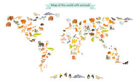 World mammal map silhouettes. Animals world map.  on white background. Vector illustration. Colorful cartoon illustration for children and other people Royalty Free Stock Image