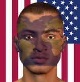 World Man USA. World Map Over Man with USA Flag Stock Photography
