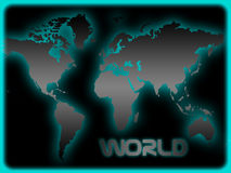 World map. Illustration of world map in gray with turquoise highlights and black background Royalty Free Stock Images