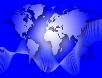 World Map. On a blue background vector illustration