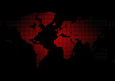 World map. Hot red map of the world stock illustration