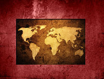 World map. Aged world map-vintage artwork Royalty Free Stock Images