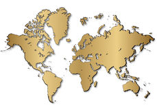 World map. In golden color eps Royalty Free Stock Photography
