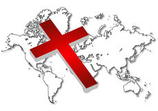 World map. With cross in white color eps Stock Photos