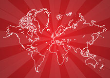 World map. Outline world map in red retro background eps Royalty Free Stock Photos