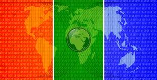 World map. Three colors digital world map with globe, binary symbols and satellites orbits Royalty Free Stock Photo