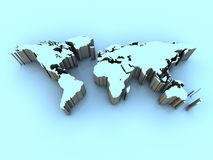 World Map. Hi-res 3D rendered map of the world in cool blue tones Royalty Free Stock Image