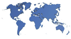 World Map. Very detailed map of the world, rendered in 3d with light shadow Royalty Free Stock Photography