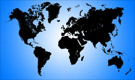 World Map. Silhouette graphic of a world map illustration on blue background Stock Images