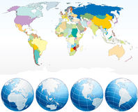 World map. With Globes- individual drawn countries and national borders - (vector available royalty free illustration