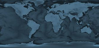 World map. Blue world map with relief of continents and ocean royalty free stock photos