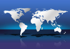 World map. Shinnig world. world map illustration. shiny world map. map of the world. world map with shadow. world standing in blue background Stock Photography