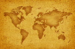 World map. On an old yellow canvas Stock Photography