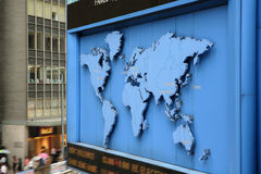 World map. Blue world map on street Royalty Free Stock Photos