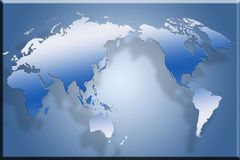 World Map. 3D World Map Floating above a blue gradient background Royalty Free Stock Images