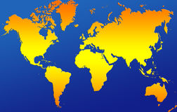 World map. Classic world map blue and orange Royalty Free Stock Photos