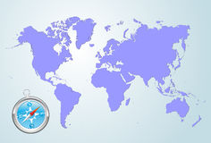 World map. Blue world map with compass Stock Photo