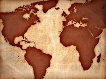 World map. On ancient sheet, rusted old yellow paper Stock Image
