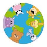 World map. Animals around the world. world map Royalty Free Stock Photography