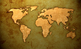 World map. Aged world map-vintage artwork Royalty Free Stock Photos