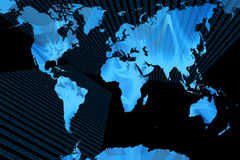 World map. Map of the world with abstract texture and binary plains Royalty Free Stock Image