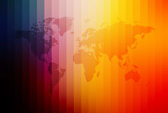 World Map. A colorful unfolded map of the world Stock Photos