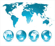 World map. And globes icons Stock Images