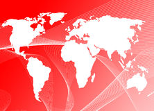World map. On red wave background, both images are from photographers portfolio Royalty Free Stock Photos