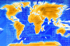 World map. Modern map of the world with a circuit in background in blu Royalty Free Stock Photo