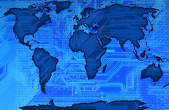 World map. Modern map of the world with a circuit in background in blu Royalty Free Stock Image