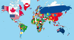 The world map. With all states and their flags royalty free illustration